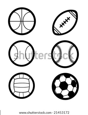 many sports balls as vector icons - stock vector