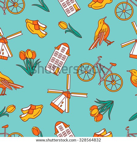 Many symbols of Holland hand drawn seamless pattern. Doodle background Netherlands. Icon set vector