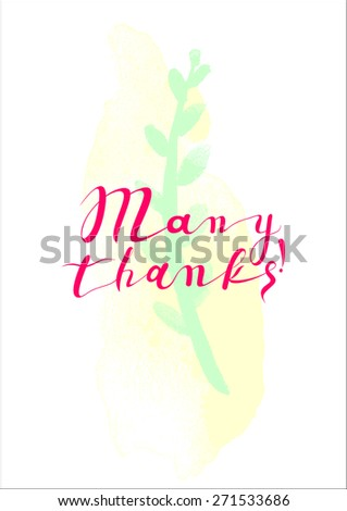 Many thanks Hand Lettering - Typographical Vector Background. Many Thanks Banner - Retro Clipart Illustration.  - stock vector