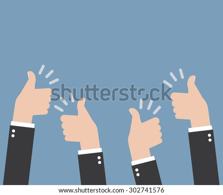Many thumbs thumbs up - stock vector