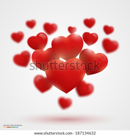 Many Valentine's hearts, Heart many sign, Vector illustration.