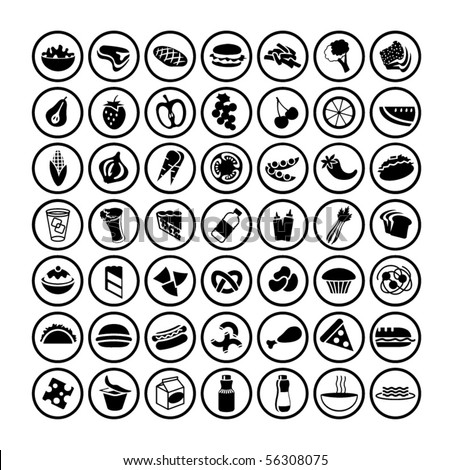 many vector food icons set 3 - stock vector