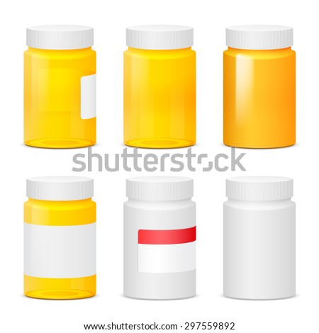 Many yellow, white plastic medicine bottles. Realistic vector illustration
