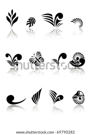 Maori Koru Design Logos Elements Set - stock vector
