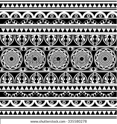 Maori Polynesian Style Tattoo Black White Stock Vector