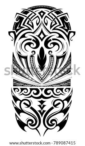 Maori style design sleeve tattoo stock vector 789087415 for Vector tattoo sleeve