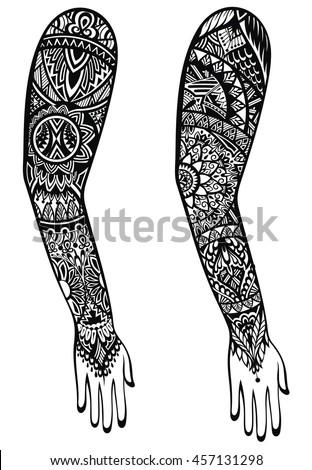 Maori style tattoo design stock vektorgrafik 457131298 for Vector tattoo sleeve