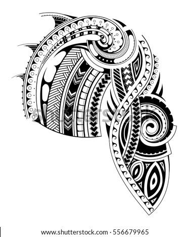 Maori Style Tattoo Design Chest Sleeve Stock Vector