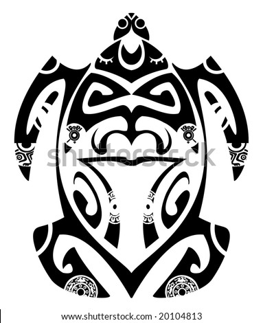Maori tribal turtle - Tattoo style - stock vector