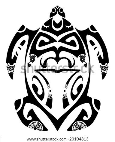 Maori tribal turtle - Tattoo style - stock vector