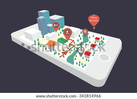 Map a small town on the mobile phone with the specified destination point. GPS route map. City navigation app. Vector illustration. Christmas town, winter - stock vector