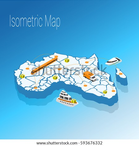 Map Africa Isometric Concept 3d Flat Stock Vector 593676332