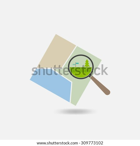 map and a magnifying glass icon - stock vector