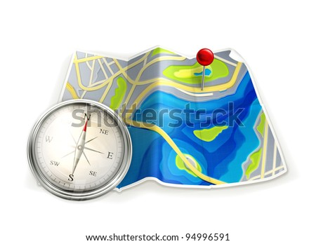 Map and compass, vector - stock vector