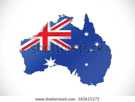 Map and flag of Australia idea design - stock vector