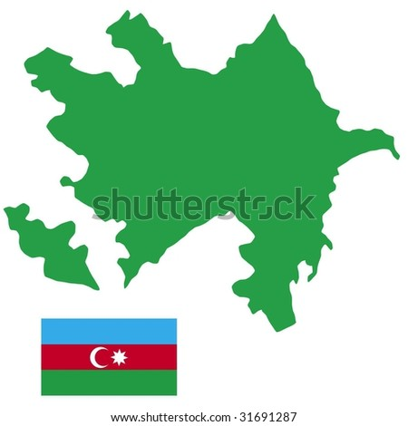 map and flag of Azerbaijan