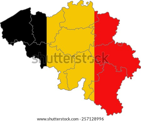 Map and flag of Belgium  - stock vector