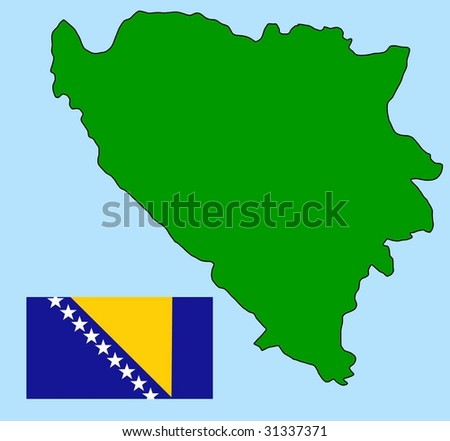 map and flag of Bosnia and Herzegovina - stock vector