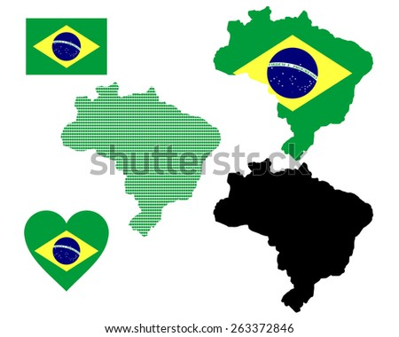 map and flag of Brazil symbol on a white background  - stock vector