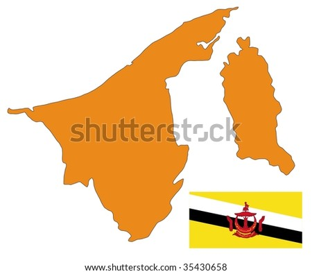map and flag of Brunei