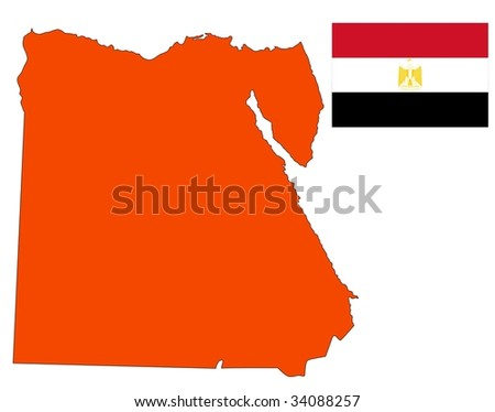 map and flag of Egypt - stock vector