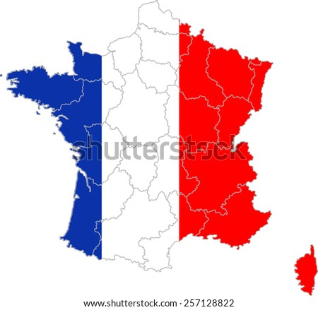 Map and flag of France  - stock vector