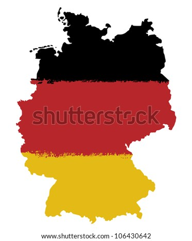 Map and flag of Germany  paint brush