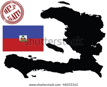 Map and flag of Haiti, isolated objecTs over white background