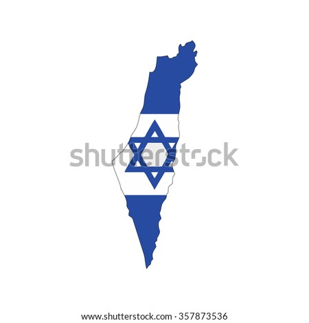 Map and flag of Israel - stock vector