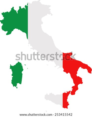 Map and flag of Italy - stock vector