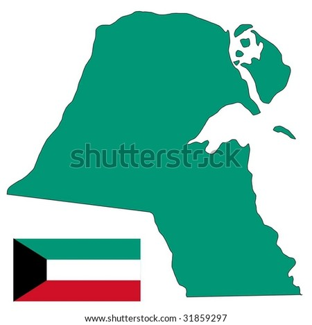 Kuwait Map Vector Map And Flag of Kuwait Stock