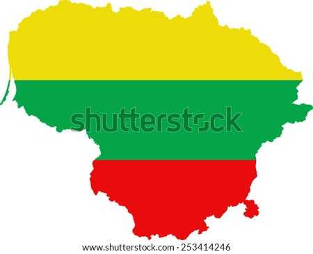 Map and flag of Lithuania  - stock vector