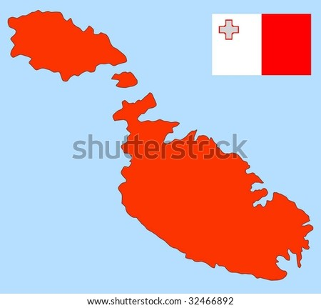 map and flag of Malta
