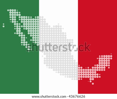 Map and flag of Mexico - stock vector