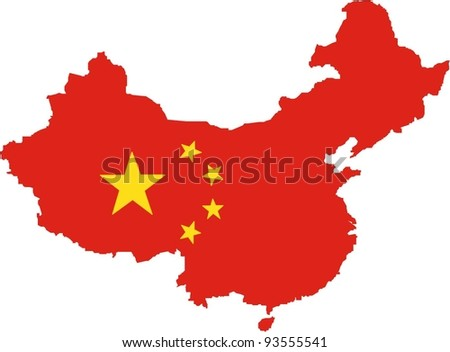 Map and flag of People's Republic of China in vector art - stock vector