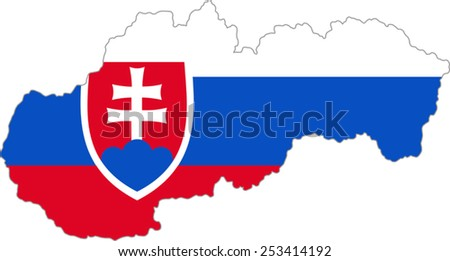 Map and flag of Slovakia