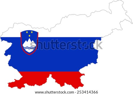 Map and flag of Slovenia - stock vector