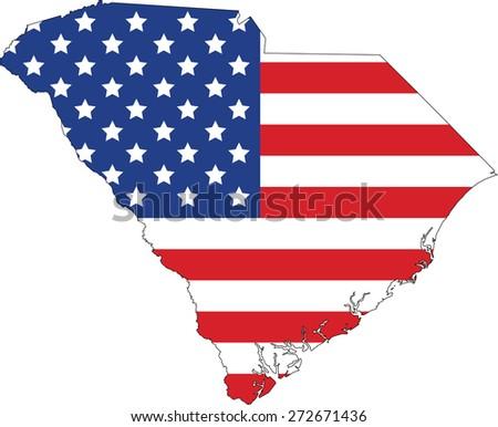 Map and flag of South Carolina - stock vector