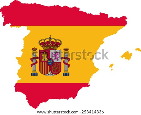 Map and flag of Spain - stock vector