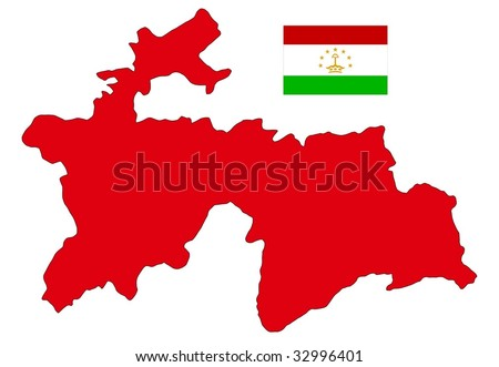 map and flag of Tajikistan