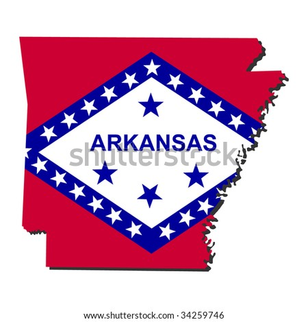Map and flag of the State of Arkansas - stock vector