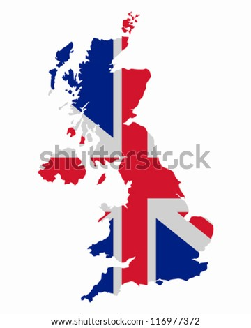 Map and flag of United Kingdom - stock vector