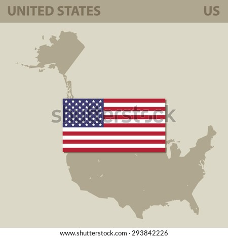 Map and Flag of USA, Vector Card