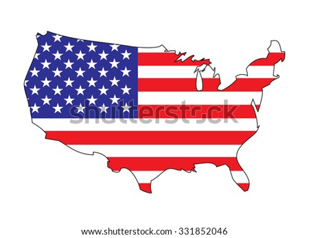 map and flag United States america. Vector - stock vector
