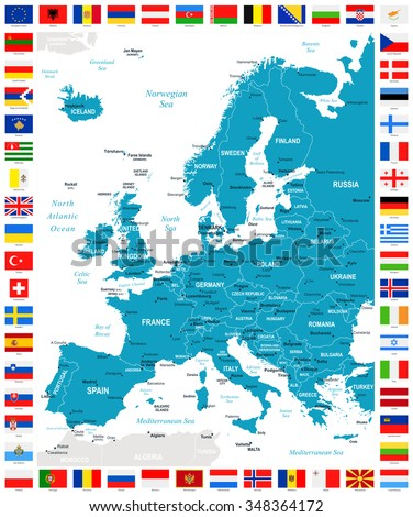 Map and Flags of Europe - Full Vector Collection  - stock vector
