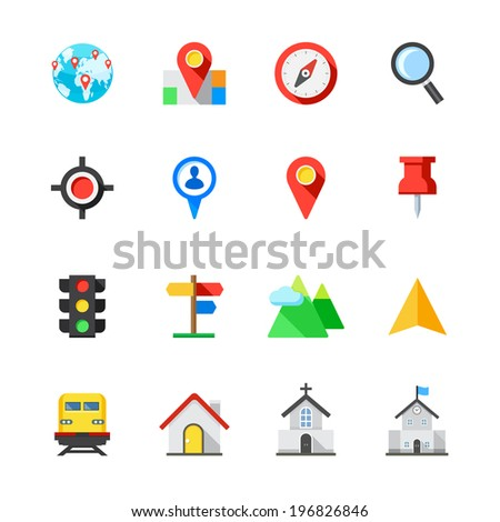 Map and Location Icons : Flat Icon Set for Web and Mobile Application - stock vector