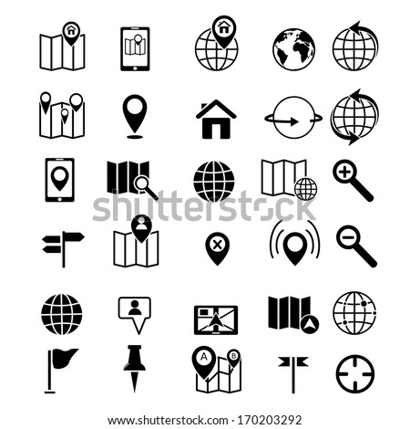 Map and location icons set black - stock vector