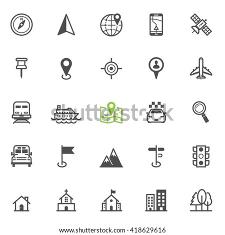 Map and location icons with White Background - stock vector