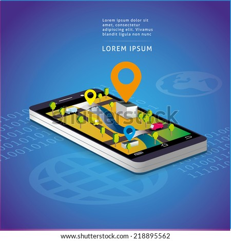 Map and navigation on the screen of smartphone - stock vector