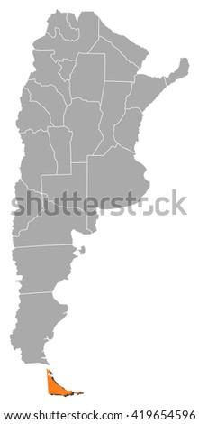 Map - Argentina, Tierra del Fuego - stock vector